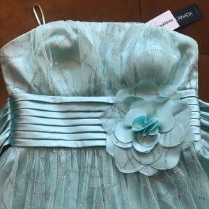 Le Chateau Mint Sparkle Strapless dress